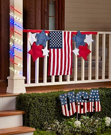 Beautiful Coordinate Your Outdoor Display With The Lively Colors Of The Patriotic  Pride Garden Decor. Decorate With The Bunting X That Has An American Flag  In The ...