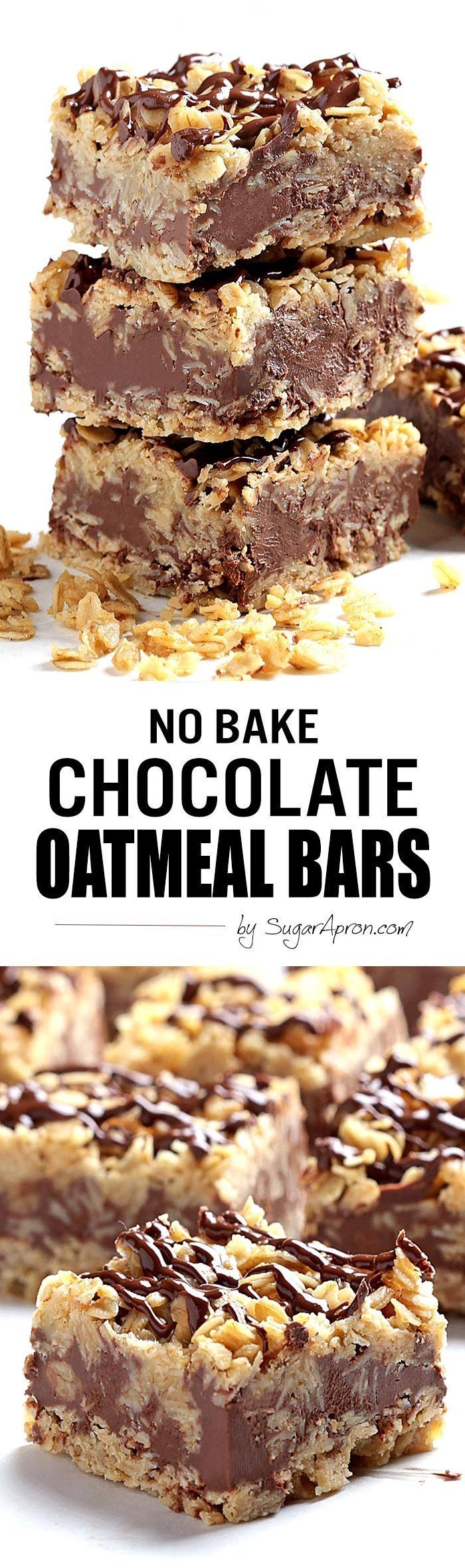 The only thing easier than making these no-bake chocolate oatmeal bars is eating them....(Baking Treats Deserts)