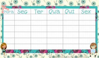 Tabelas Personalizadas para Horário de Aulas (Para Imprimir)