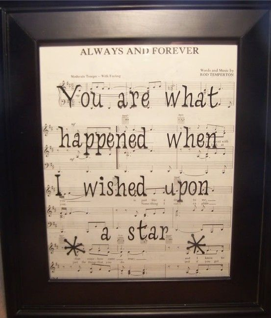 So sweet .. music sheet of your wedding song and beautiful quote
