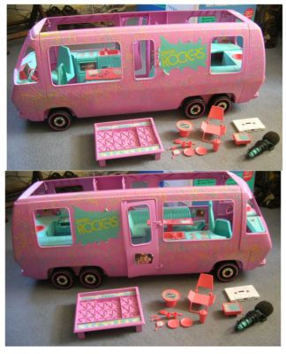 Barbie and the Rockers Tour Bus-HOURS of my childhood went into playing with this over at my cousin's house :)