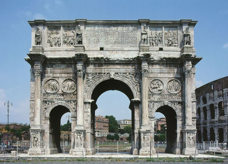 """ARCH OF CONSTANTINE: This huge triumphal arch (21 meters high), with 3 passageways, was erected to commemorate Constantine's victory over Maxentius in 312. It incorporates recycled sculpture from earlier monuments, in part as some suggest, because creativity and technical skill had fallen off by this time period, but perhaps also because of a desire to associate Constantine with the """"good emperors"""" Trajan, Hadrian, and Marcus Aurelius, whose monuments were cannibalized for sculpture."""