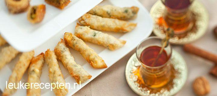 Turkish feta cheese in filo pastry, also called sigara boregi