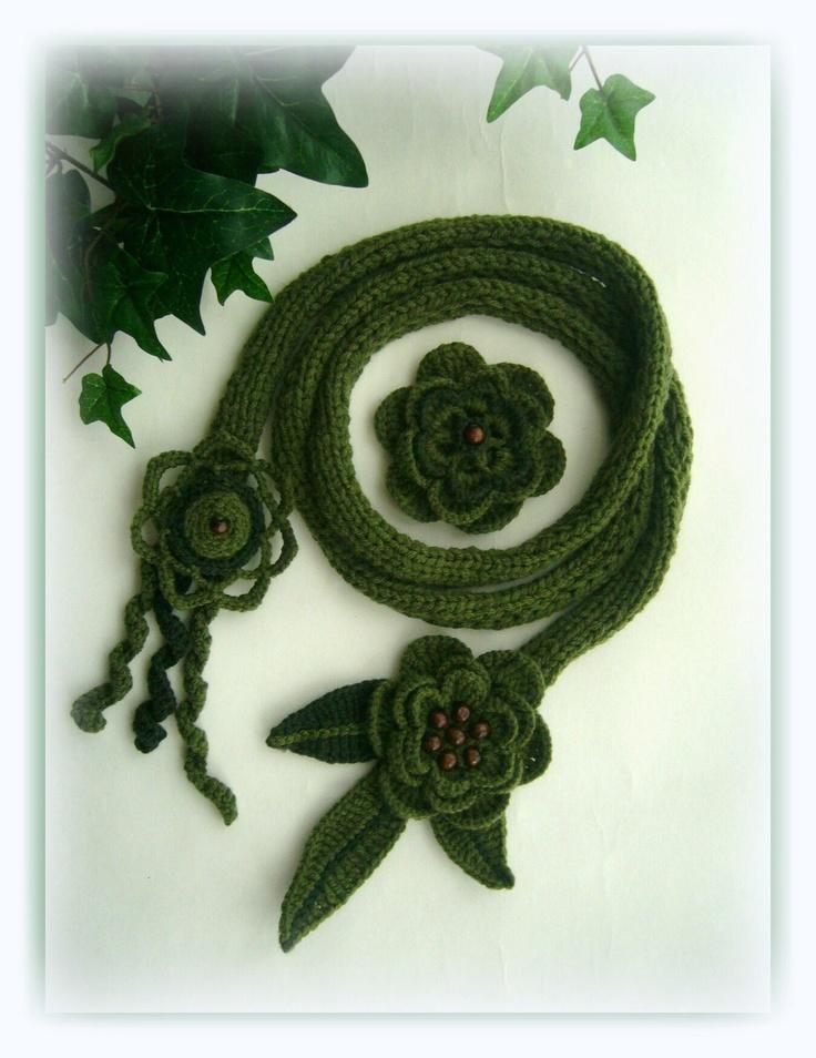 Crochet -knitted scarf-lariat with detachable brooch   www.etsy.com/shop/CraftsbySigita