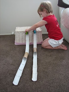 Toilet roll race track - think my girls would like this.