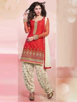 Red Cotton Suit With Resham And Zari Embroiodery Work
