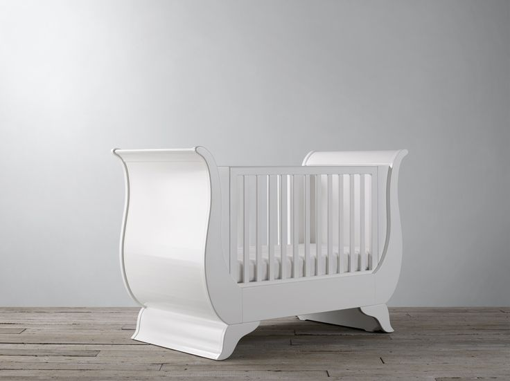 With its beautiful curves and magnificent wave of wood rising up into a curved rail, the Nestor sleigh cot is a stunning addition to any nursery. Handcrafted from solid wood, it is built to last. With its adjustable mattress positions, it is suitable from birth it then becomes a toddler bed and, ultimately, an elegant sofa bed. The Nestor cot is finished in a childsafe paint that enhances the majestic curves of the design. www.Bambizi.co.uk