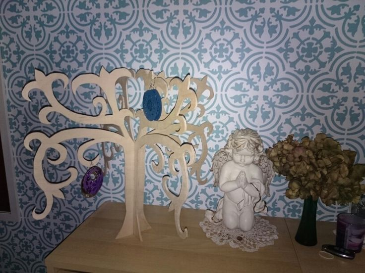 Jewel holder wood tree for jewel