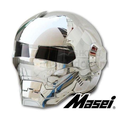 Masei vélo scooter moto electroplate argenté iron man casque casque de moto moitié casque casque ouvert casque motocross