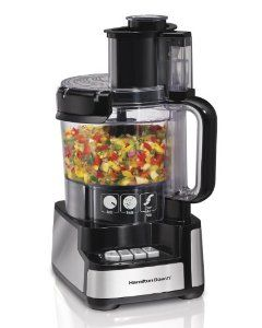 Why we use the Hamilton Beach 12-Cup Stack and Snap Food Processor * It can handle big jobs * The bowl easily slips on the base * The lid snaps on instead of twisting on  * It has a large feed tube * It's powerful * It has storage for the cord (affiliate) #ad