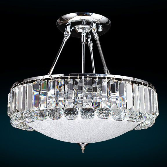 Polished Silver Cylindrical Crystal Semi Flush Mount Chandelier Ceiling Lamp  New