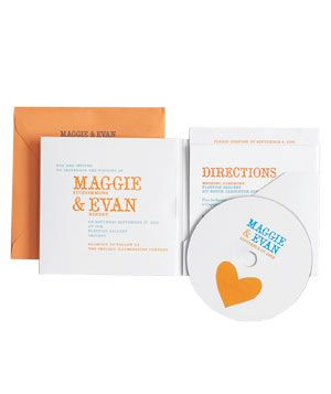 Bird & Banner wedding invitation with music cd