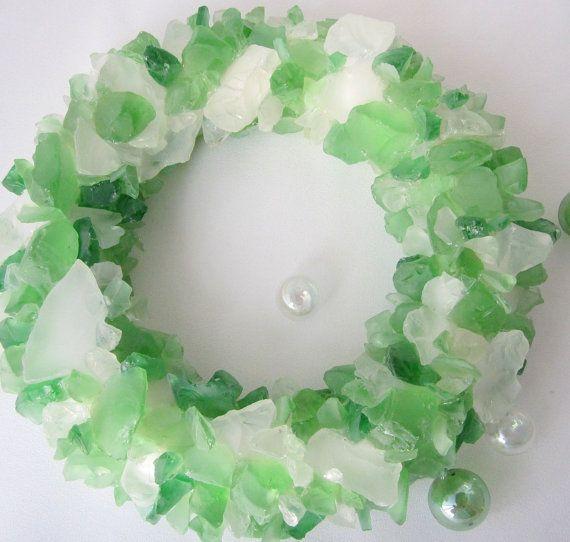 Beach Decor Sea Glass Wreath Nautical Decor by beachgrasscottage
