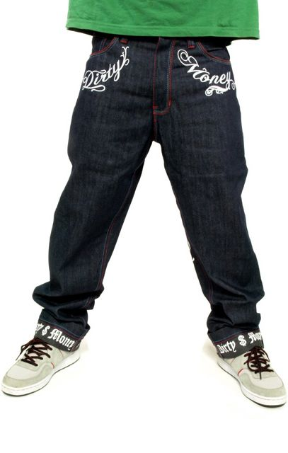 DIRTY MONEY BOYS BAGGY LOOSE FIT STYLE JEANS TIME IS LONG HIP HOP WEAR