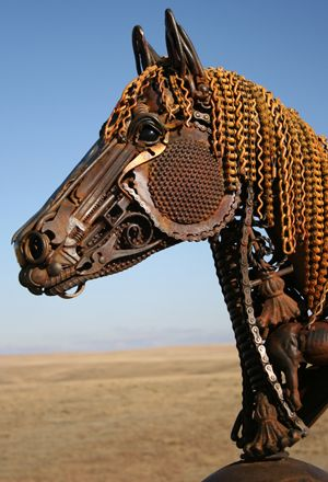 Really great horse with found objects. The eye looks real.  This artist does amazing things.