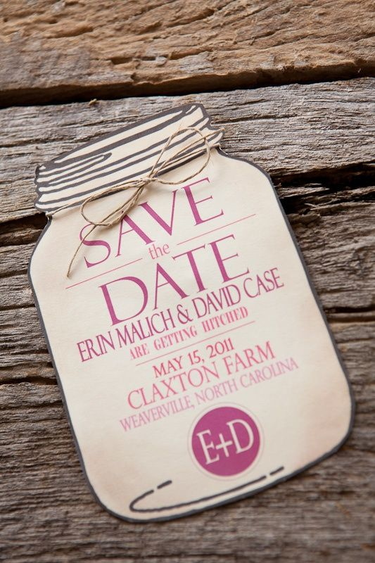 Burlap-Pink-Monogram-Wedding-Invitation-Mason-Jar-Save-the-Date: Save The Date, Jars Save, Mason Jars Invitations, Cute Ideas, Burlap Wedding Invitations, Masonjar, Mason Jars Wedding, Cards, Rustic Wedding