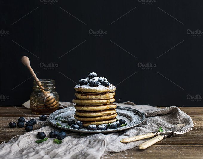 Pancake tower with fresh blueberry by Foxys on @creativemarket