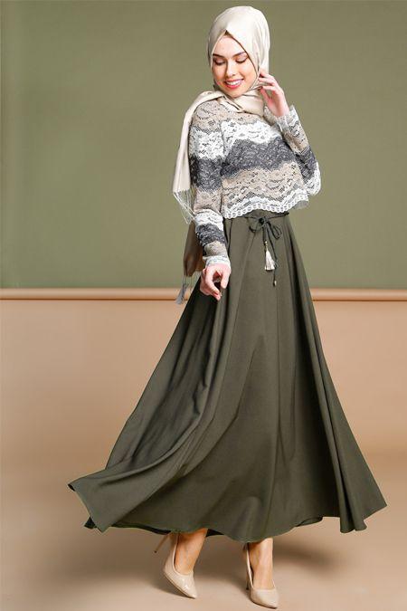 Puane Haki Dantelli Elbise 189.90 TL http://alisveris.yesiltopuklar.com/puane-haki-dantelli-elbise-2.html