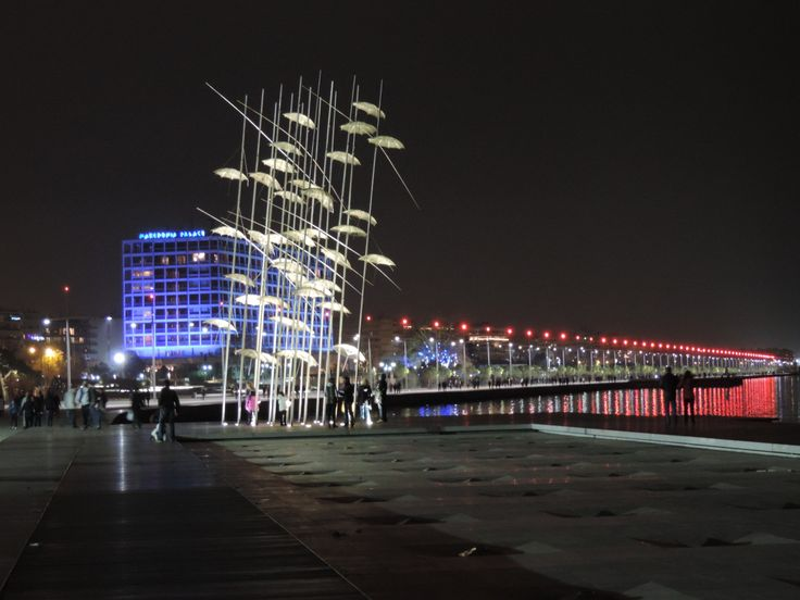 Thessaloniki port by night