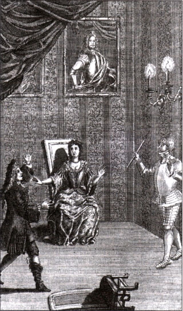 Restoration actor Thomas Betterton as Hamlet, confronted by his father's ghost (with both Hamlet and Gertrude in contemporary dress) (1709)