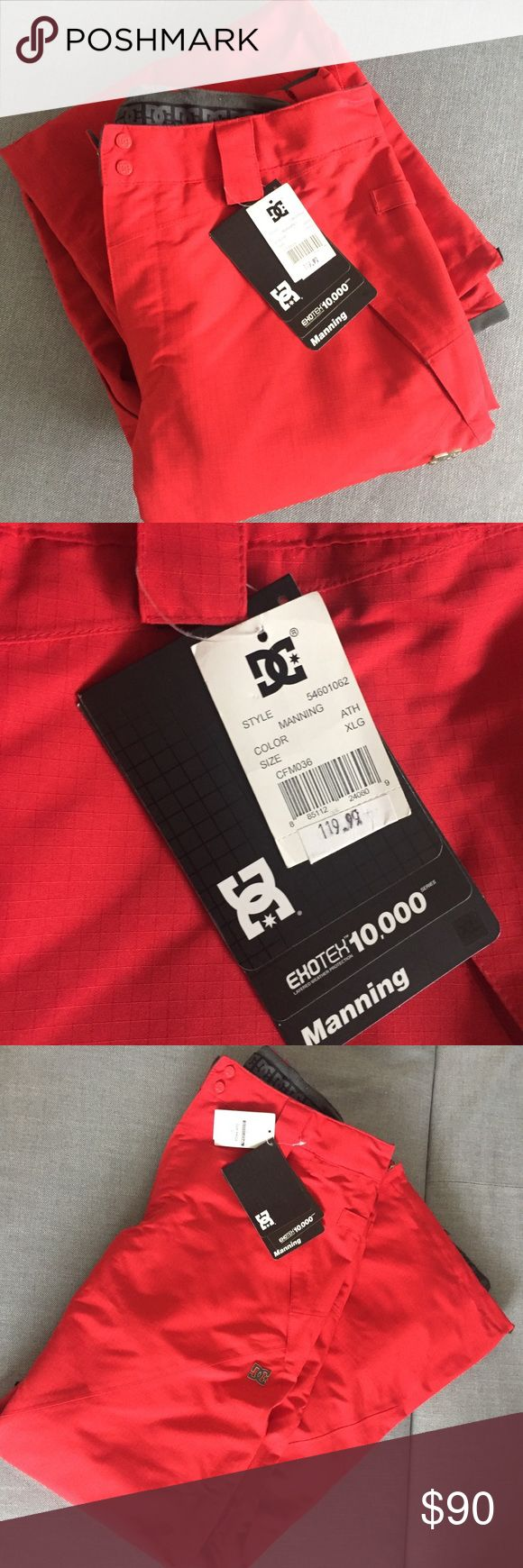 NWT DC MEN'S SNOWBOARD PANTS - 10,000MM RATING Brand new with tag DC brand men's red snowboard pants. Exotex 10,000 series. Tag reads: lightweight and versatile for changing conditions. The 10,000MM waterproof rating provides excellent resistance to snow, rain and wind, while layered fabrics traps body heat, allowing perspiration to escape. Adjustable Velcro straps on waist to get exact fit. Also snaps and zips. Lots of pockets. Bottoms have waterproof layer to fit over boots and zippers to…