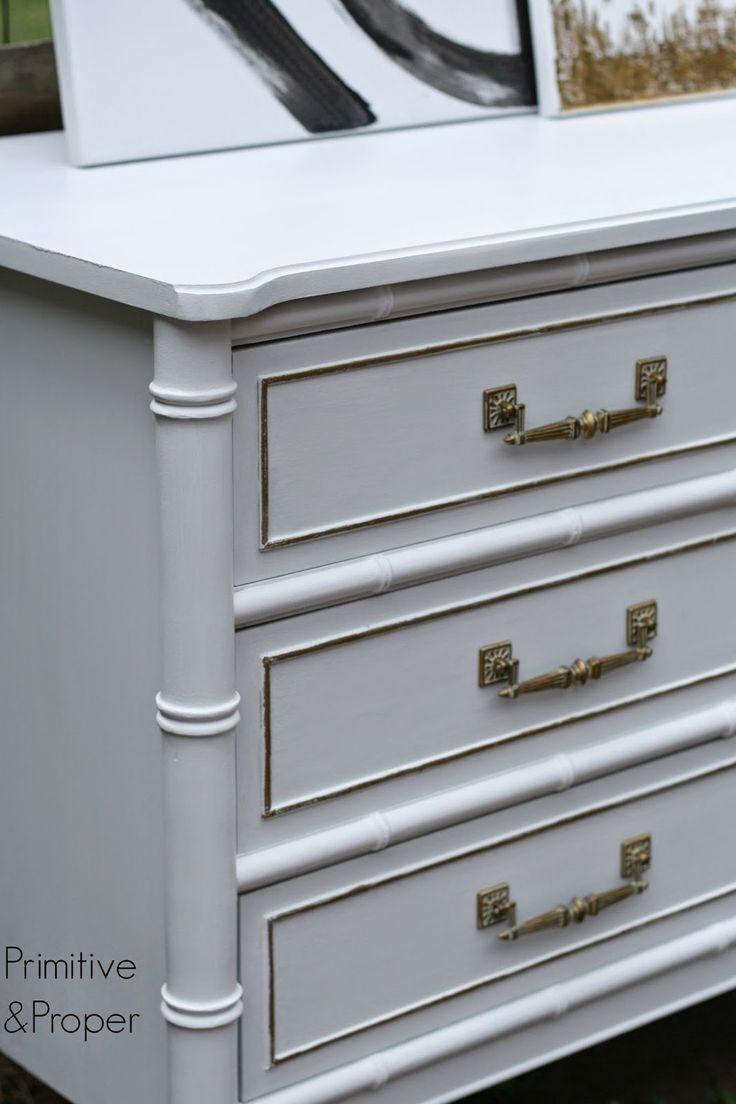 Primitive Proper Glam Snow White And Gold Bamboo Dresser
