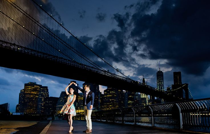 New York Engagement Photoshoot, Brooklyn Bridge. Photographer Dmitri Markine. Click on the image to see more inspirational photos