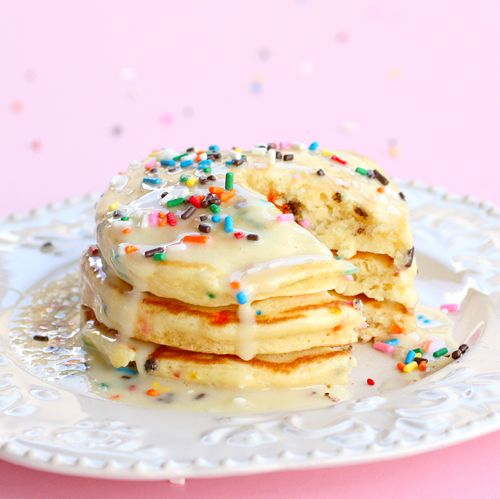 Cake Batter Pancakes, everyday is a celebration! #urbanoutfitters #cakebatter #pancakes