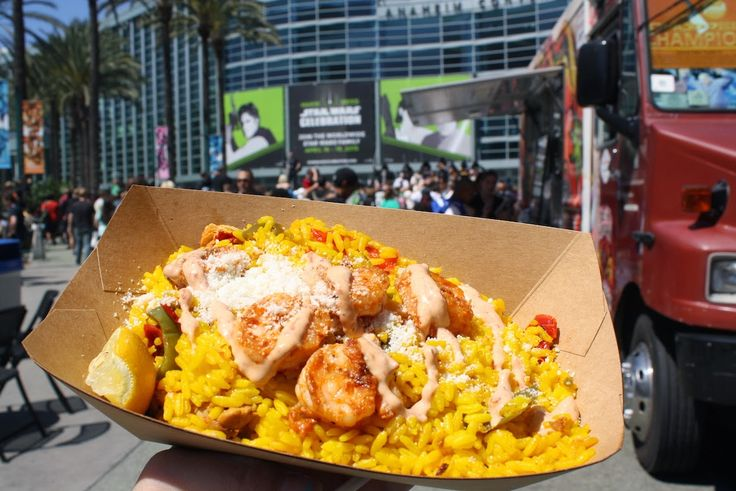 Shrimp Dish with Rice & Chipotle Aioli from Barcelona on the Go Food Truck. Pictures from my visit to the Star Wars Celebration 2015 at the Anaheim Convention Center.