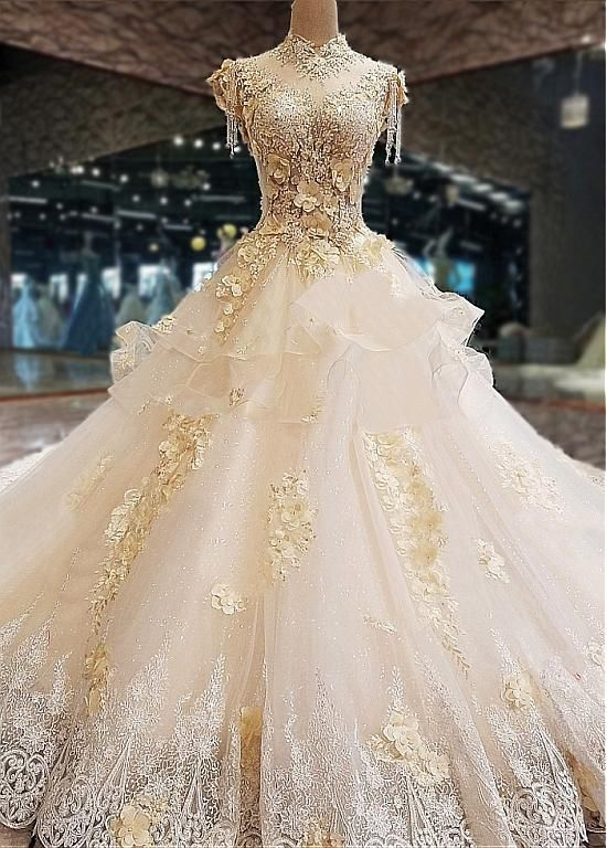 [358.80]  Amazing Tulle Mandarin Collar See-Through Lace Appliques & Beadings & 3D Flowers
