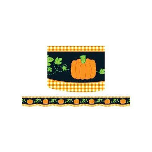 Border Pumpkin Gingham 35 Scalloped