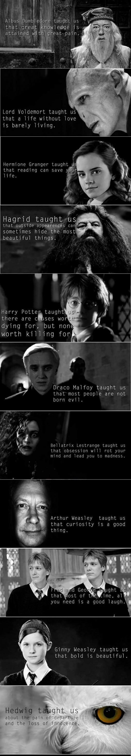 """The Moral Of Harry Potter --> Open to see all. The only one I disagree with is Lupin. It should read """"Prejudice about something that is misunderstood will lead you nowhere, but kindness and compassion to everyone will create love."""":"""