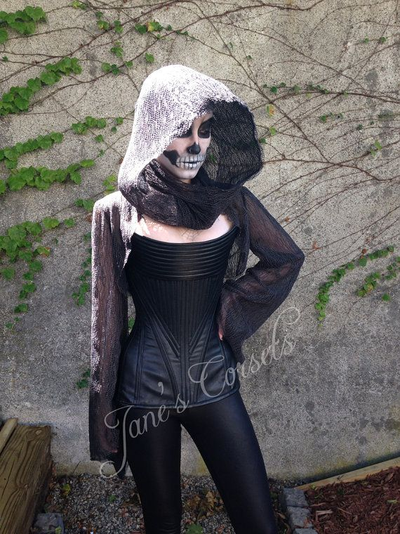Leather Grim Reaper Corset with French Lace Shrug and Hood