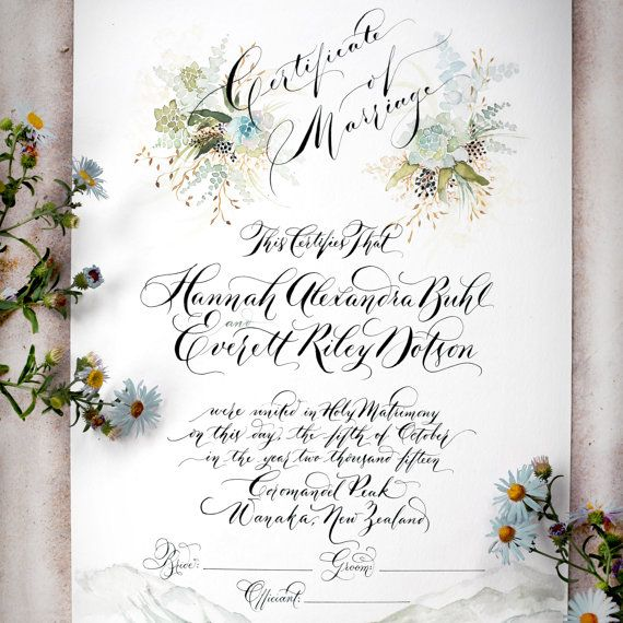 Marriage Certificate Wedding Certificate Custom por eDanae en Etsy
