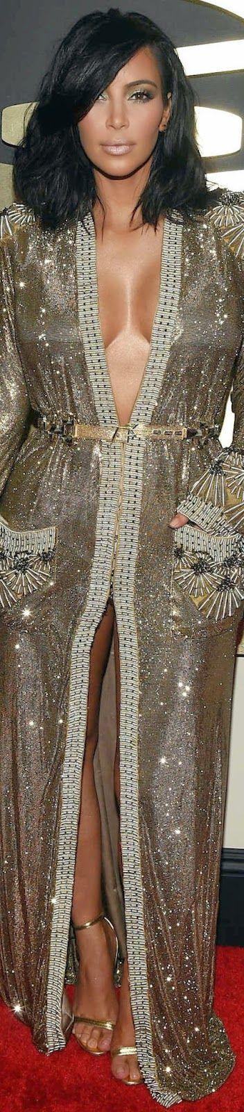 Kim Kardashian in Jean Paul Gaultier \  2015 Grammy Red Carpet Fashion