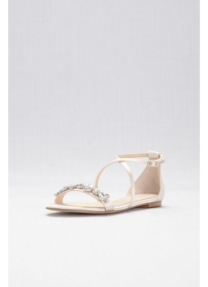 03373d936 Satin and Crystal Cross-Strap Flat Sandals Style JWTESSY