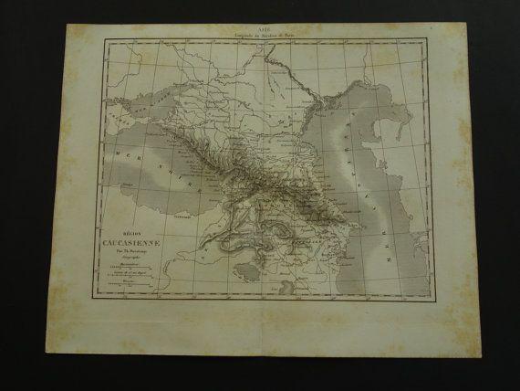 CAUCASUS old map of the Caucasus 1854 original by VintageOldMaps