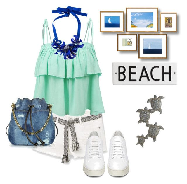"""""""Beach"""" by kdorisz on Polyvore featuring MANGO, LE3NO, Off-White, Dsquared2, P.A.R.O.S.H., Rosanna and Pier 1 Imports"""