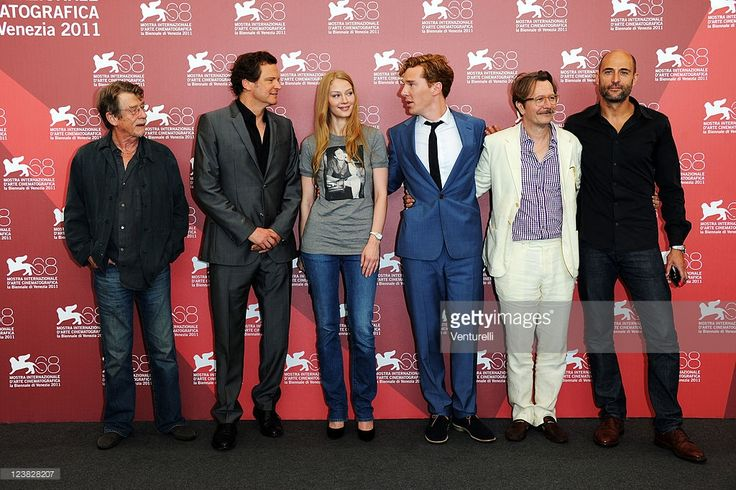 Actors John Hurt, Colin Firth, Svetlana Khodchenkova, Benedict Cumberbatch, Gary Oldman, filmmaker  Tomas Alfredson and actor Mark Strong attend the 'Tinker, Tailor, Soldier, Spy' Photocall during the 68th Venice International Film Festival at Palazzo del Casino on September 5, 2011 in Venice, Italy.