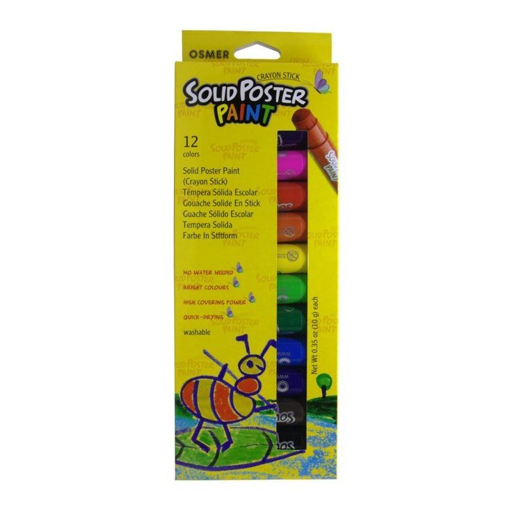 $17.95 Delivered : Osmer Solid Poster Paint Crayon Sticks 12 pack.  Crayon sticks used for drawing or painting on paper, cardboard, wood etc. Solid poster paint.      No water needed.     Bright colours.     High covering power.     Quick drying.     Washable.     Silky Finish.     Solvent free.