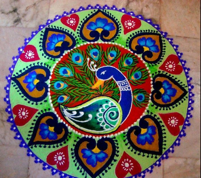 Peacock Kolam Rangoli Designs for Diwali
