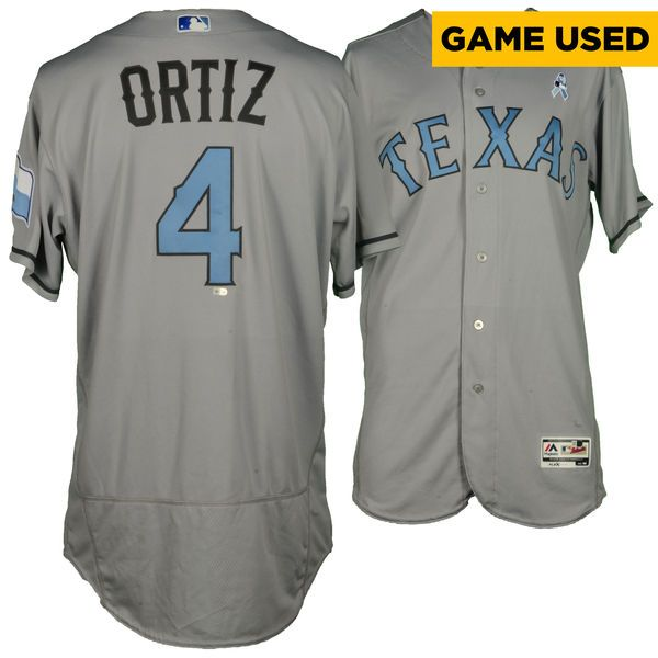Luis Ortiz Texas Rangers Fanatics Authentic Game-Used #4 Gray and Baby Blue Jersey vs. St Louis Cardinals on June 19, 2016 - $299.99