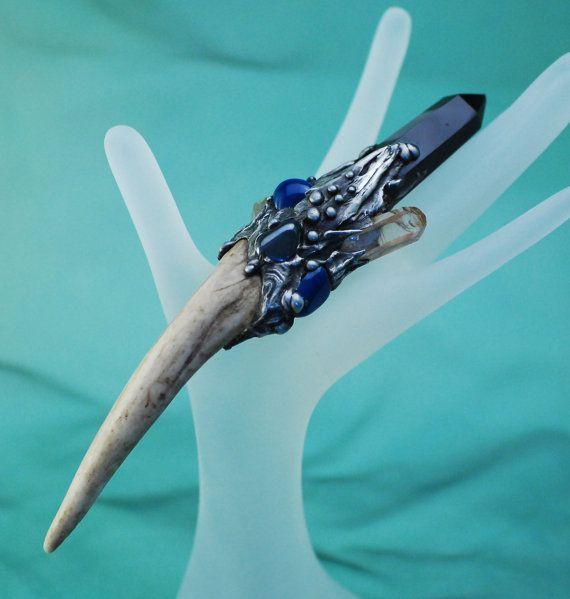 Magickal Ritual Sacred Tools:  Obsidian Quartz Agate Deer Antler Magick Wand, by Queenie88.