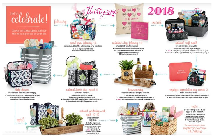 #31 2018 Let's Celebrate! Check out these great gifts for the special people in your life. Thirty-One has gifts of all shapes and sizes for all occasions including Birthdays, Mardi Gras, Valentine's Day, Baby Showers, Housewarming, Appreciation Gifts, Hostess Gifts, Easter, Mother's Day, Wedding Gifts, Bridal Showers and more. Time to plan ahead! Find more at MyThirtyOne.com
