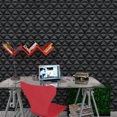 Osez l'effet 3D avec l'intissé SPLIT !   Ce parfait trompe-l'oeil apporte du relief à vos murs, en misant sur un style graphique chic. Son coloris noir et son motif géométrique donnent de la profondeur et du caractère à votre espace.   Ce papier peint crée une ambiance urbain design, résolument tendance et chic !