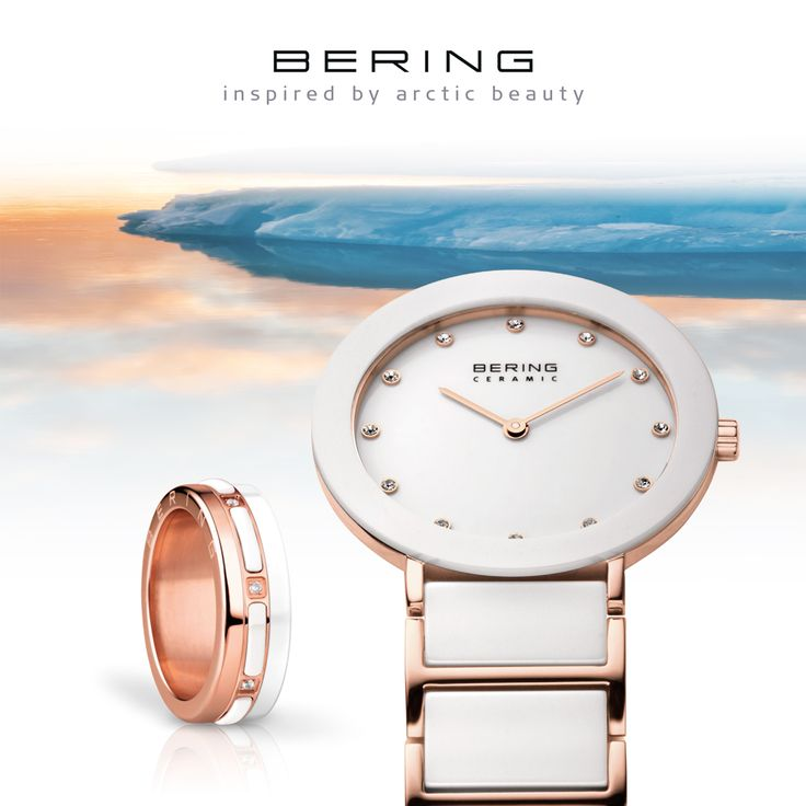 Watch and ring; BERING; Ceramic Collection; Arctic Symphony Collection