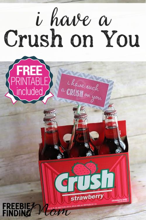 I Have a Crush on You DIY Valentine's Day Gift - Homemade Valentine's Day gifts don't get much easier or cuter than this. That's right, simply grab a six pack of Crush soda (or just a can or bottle if you prefer) and affix the free printable gift tag. Voila! Within minutes you have a sweet yet simple way to tell your honey how adored they are without breaking the bank.