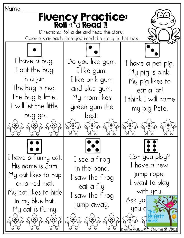 FLUENCY PRACTICE! Roll and Read a simple short story with CVC words and basic SIGHT WORDS!  Color a star each time you read it!