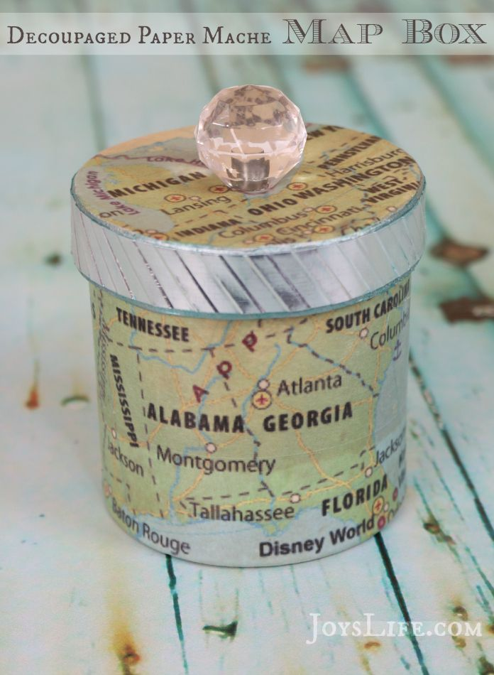 Decoupaged Paper Mache Map Box with Mod Podge - See the {Full Tutorial} and Transformation from plain box to this!