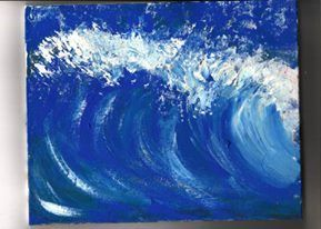 THE WAVE . Acrylic on wooden table